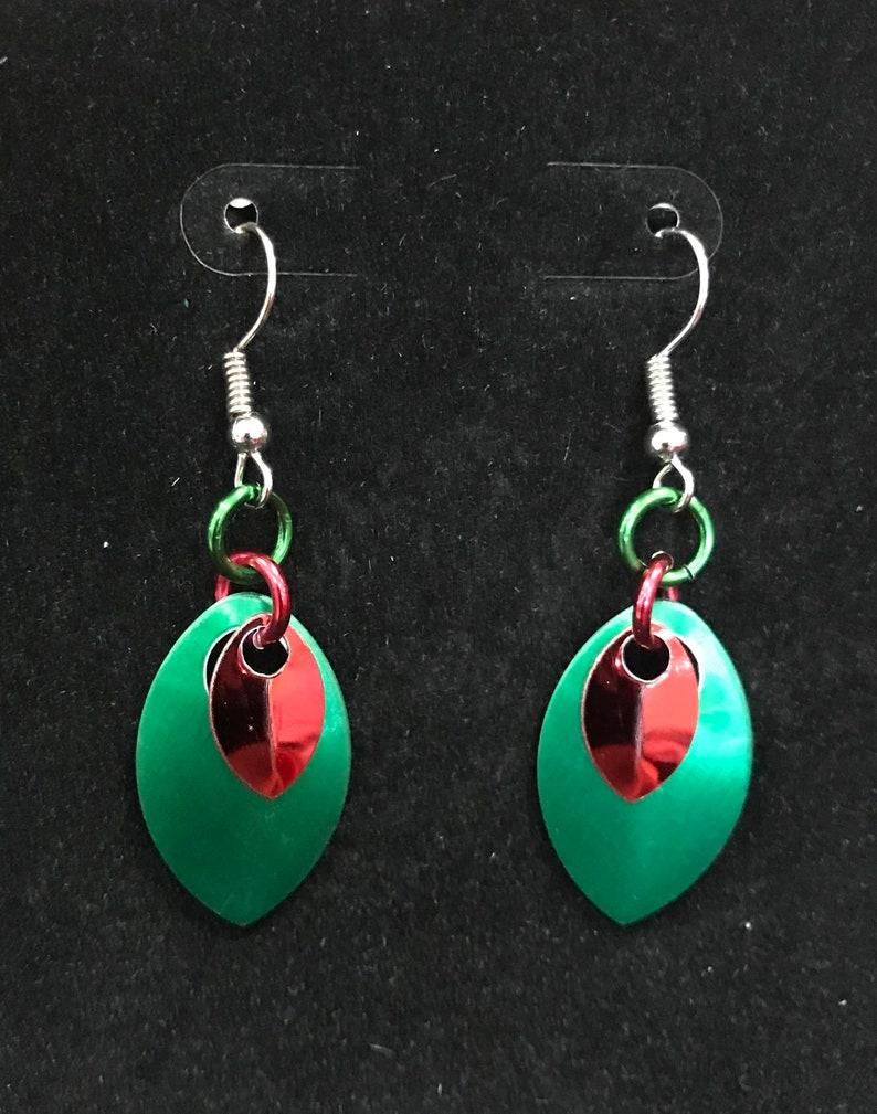 Green & Red Dangle Earrings  Nickel Free Ear Wires image 0