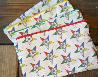 OES Fabric Zipper Pouch, Makeup Bag, Toiletry Case, Sunglasses Pouch, Money Bag, Pencil Bag, Order of the Eastern Star Gifts
