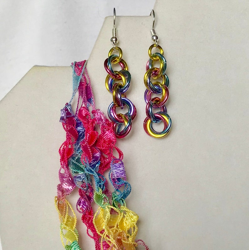 New Easter Eggs  Crocheted Necklace & Earring Set image 0