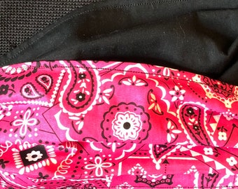 Hot Pink Bandana Fabric Face Mask, Reversible, Washable, Cowgirl Fabric, Comfort Elastic, Made in USA