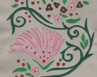 Chinese Swirls with flowers Machine Embroidery Designs for 6x10 hoop.