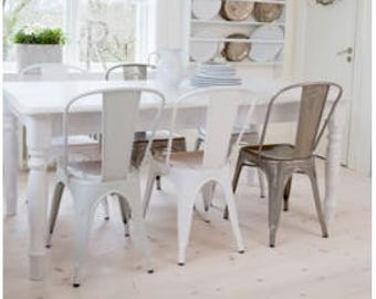 Reserved for Roslyn Custom Tolix Style High Back Side Chair in White, Black, Gunmetal or Vintage Gunmetal