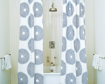 Custom Double Shower Curtain In The Fabric Of Your Choice