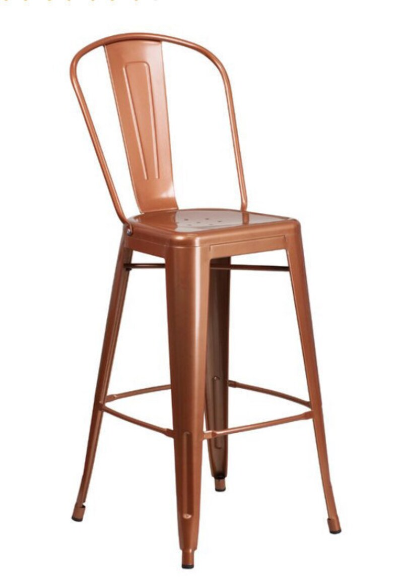 Excellent Custom Tolix Style High Back Chair Bar Counter Stool In 24 Or 30 Copper Finish Gmtry Best Dining Table And Chair Ideas Images Gmtryco