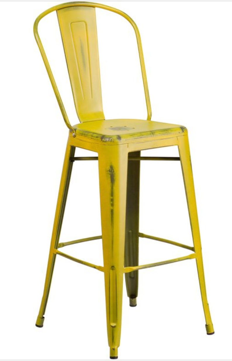 Distressed Tolix Style High Back Chair Bar Stool in YELLOW  image 0