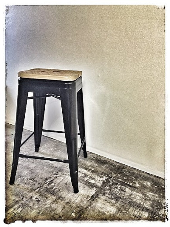 Brilliant Custom Reclaimed Wood Seat For Tolix Style Stools Pdpeps Interior Chair Design Pdpepsorg