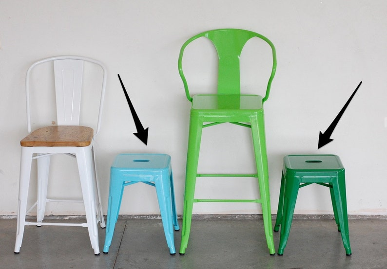 Custom Painted Tolix Style Mini Stool in the Color of your image 0