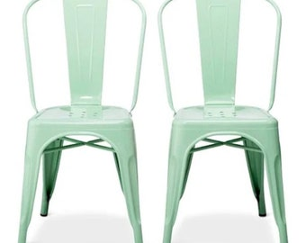Reserved for Alley Custom Painted Tolix Style High Back Chairs in Color of Your Choice