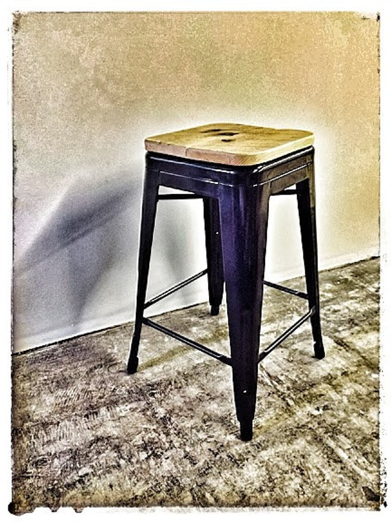 Custom Reclaimed Wood Seat for Tolix Style Stools image 0