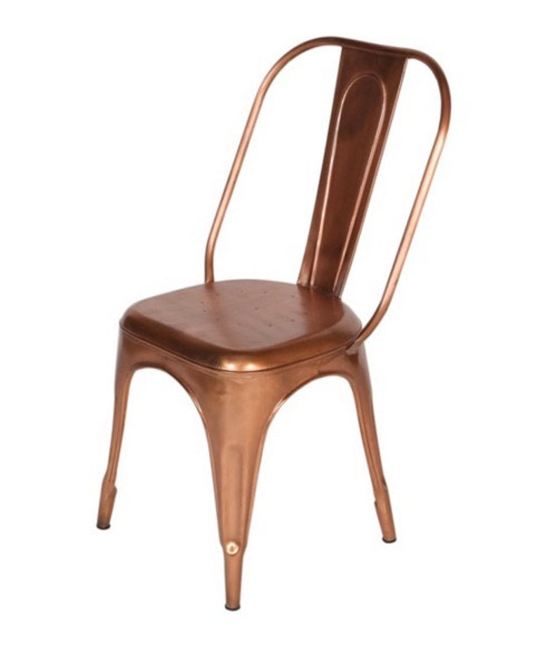 Custom Copper Tolix Style Dining High Back Side Chair image 0