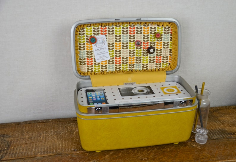 Vintage Samsonite Train Case Charging Station with Fabric image 0