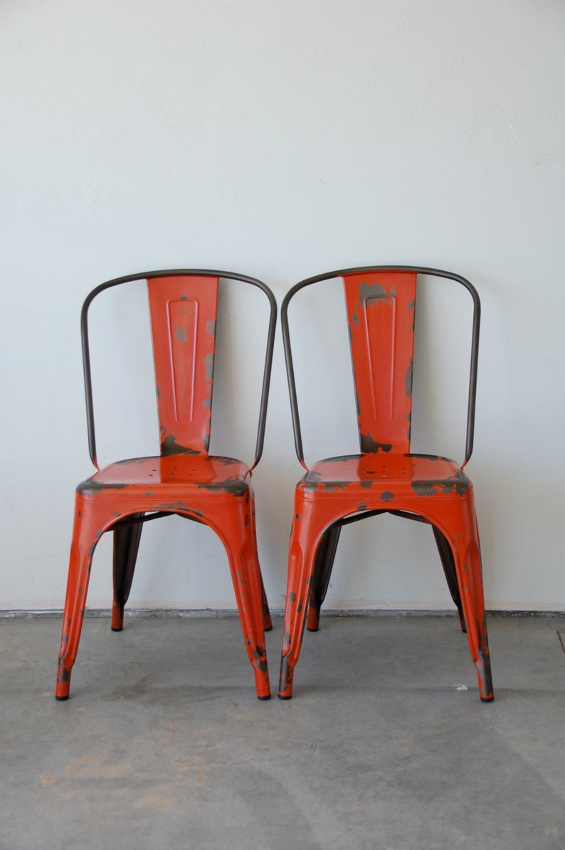 Custom Painted & Distressed Tolix Style High Back Side Chair image 0