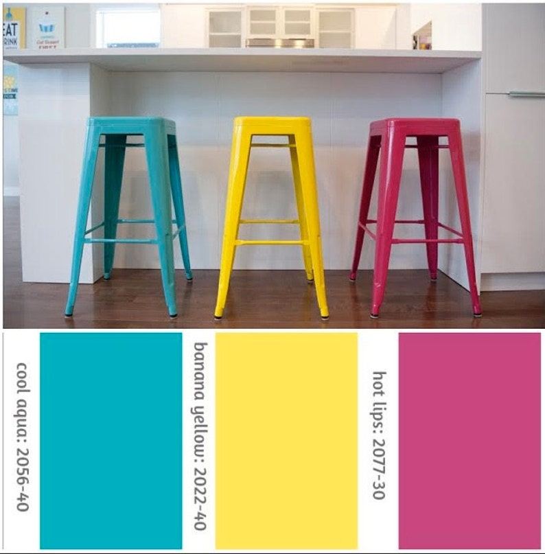 Custom Painted Tolix Style Stool in the Color of your Choice image 0