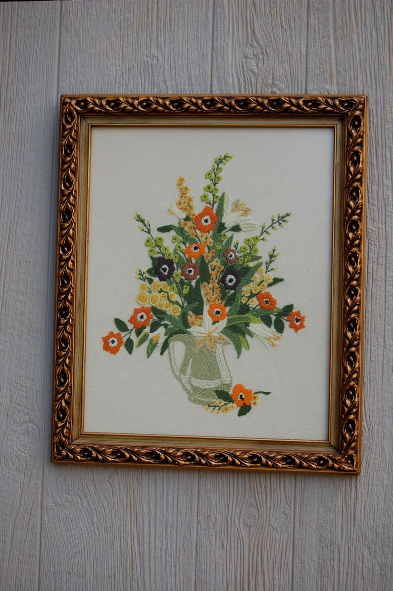 Vintage Crewel Embroidered Floral Wall Hanging with Gorgeous image 0