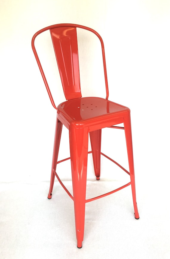 Remarkable Custom Tolix Style High Back Chair Bar Counter Stool In 24 Seat Height Custom Painted In The Color Of Your Choice Gmtry Best Dining Table And Chair Ideas Images Gmtryco
