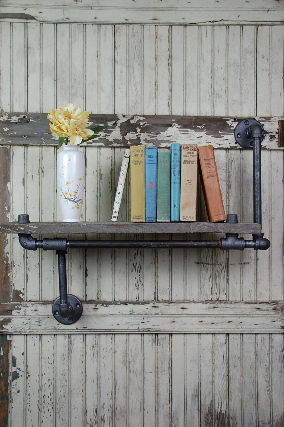 handmade barn board pipe wall shelf with customizable etsy. Black Bedroom Furniture Sets. Home Design Ideas