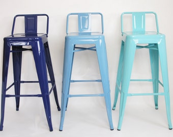 """Custom Painted Tolix Style Low Back Stool in the Color of your Choice 26"""" or 30"""" Counter or Bar Height"""