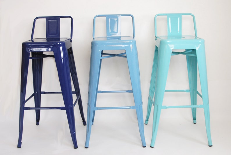 Custom Painted Tolix Style Low Back Stool in the Color of your image 0