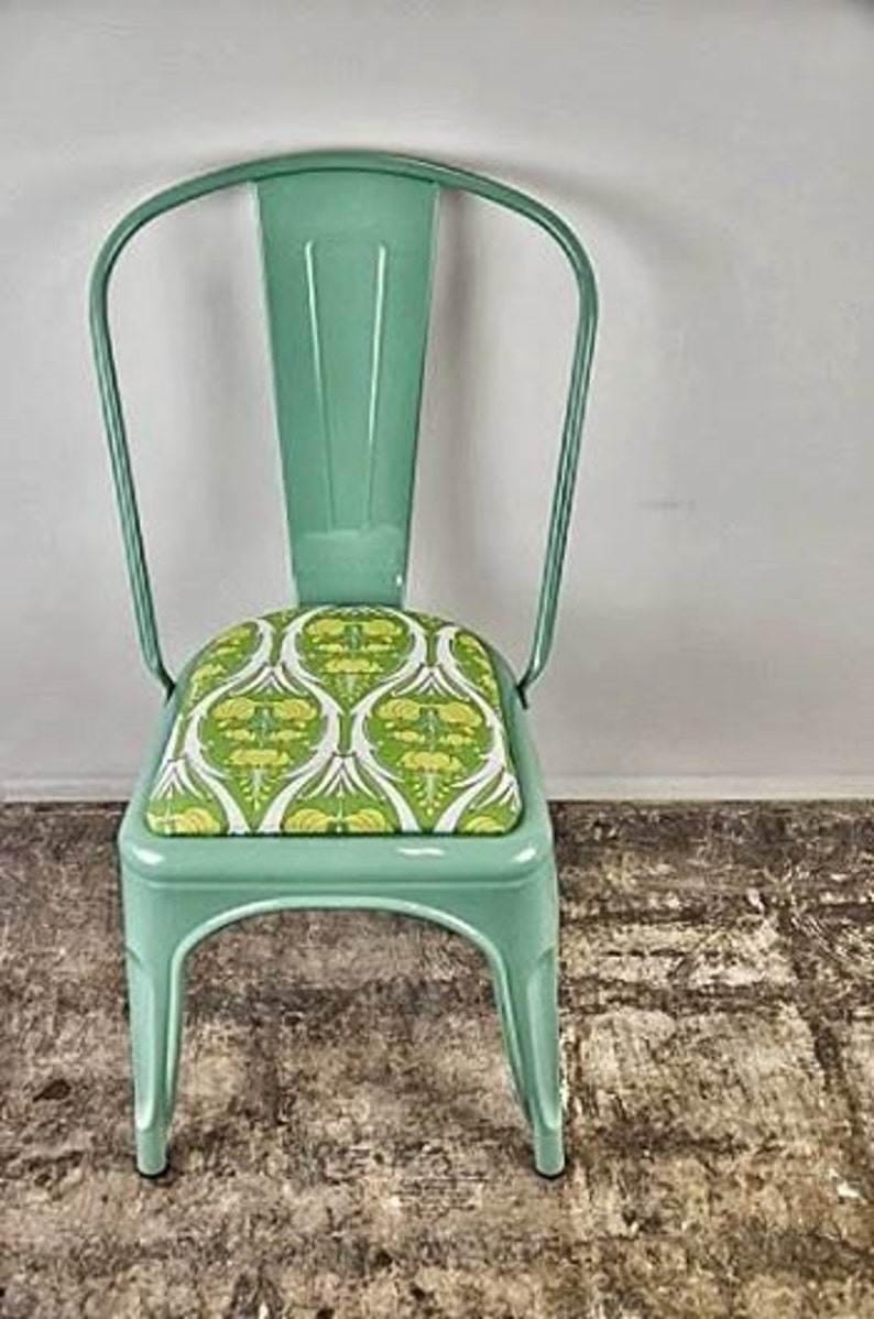 Custom Painted & Upholstered Tolix Style High Back Side Chair image 0