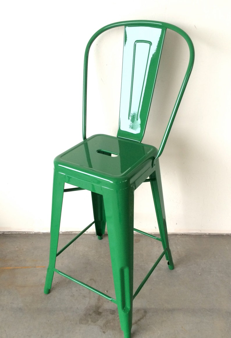 Custom Tolix Style High Back Chair Bar Stool in 30 image 0