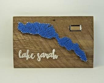 Custom Lake String Art on Reclaimed Wood