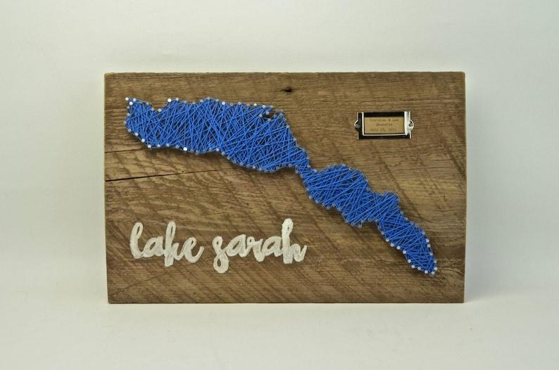Custom Lake String Art on Reclaimed Wood image 0