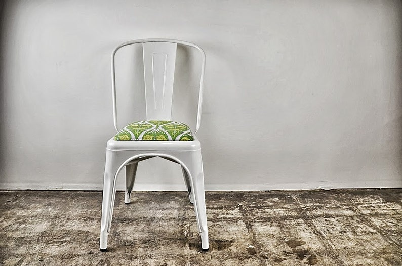 Custom Upholstered Tolix Style Side Chairs: in the Fabric of image 0