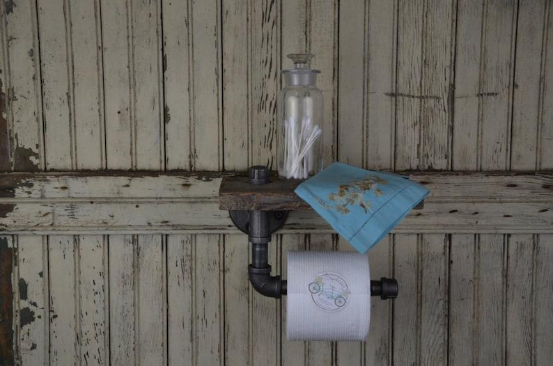 Handmade Barn Board & Pipe Single Roll Toilet Paper Dispenser image 0