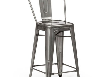 """Reserved for Roslyn Custom Tolix Style High Back Chair Bar Counter Stool in 30"""" Gunmetal Finish"""