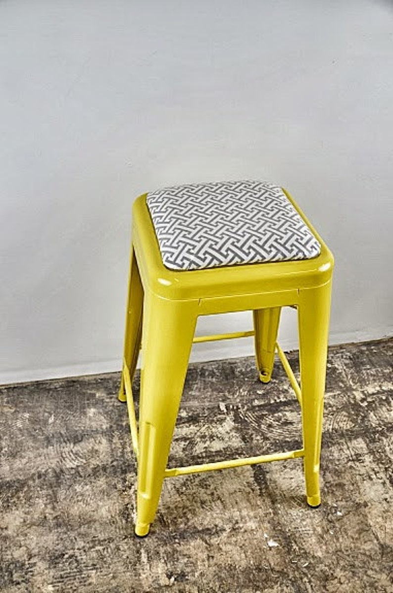 Custom Painted & Upholstered Tolix Style Stool in the Color image 0