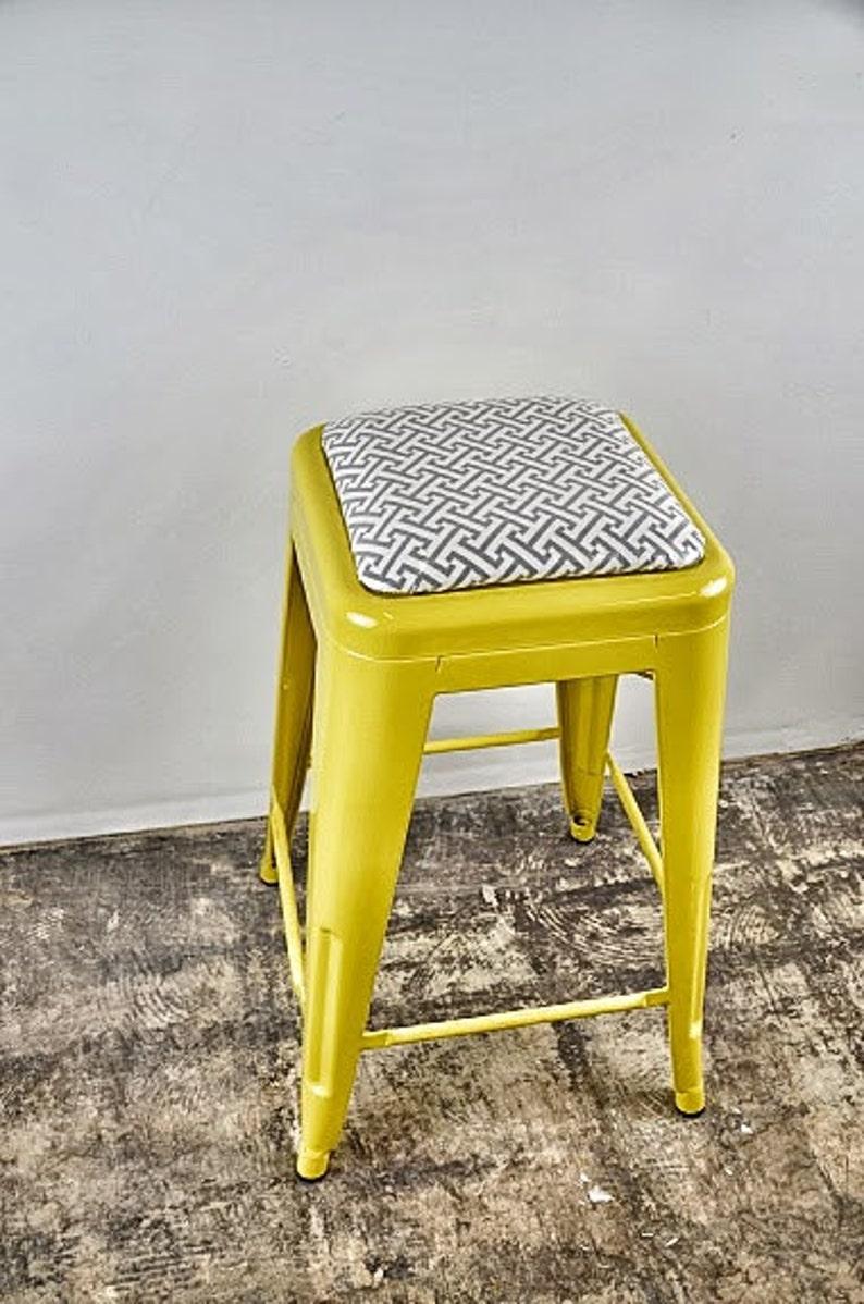 Custom Upholstered Tolix Style Stool Cushions:  ADD ON listing image 0