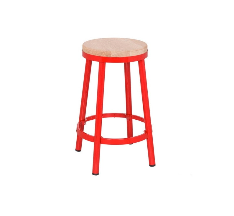 Custom Painted Round Metal & Wood Stool in the Color of your image 0