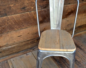 Reserved for Sylvain Custom Reclaimed Wood Seat Tolix Style Side Chairs