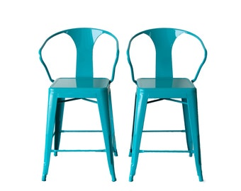 """Custom Painted Tolix Style Arm Chair Counter Stool in 24"""" Counter Height:  Painted in the Color of Your Choice"""