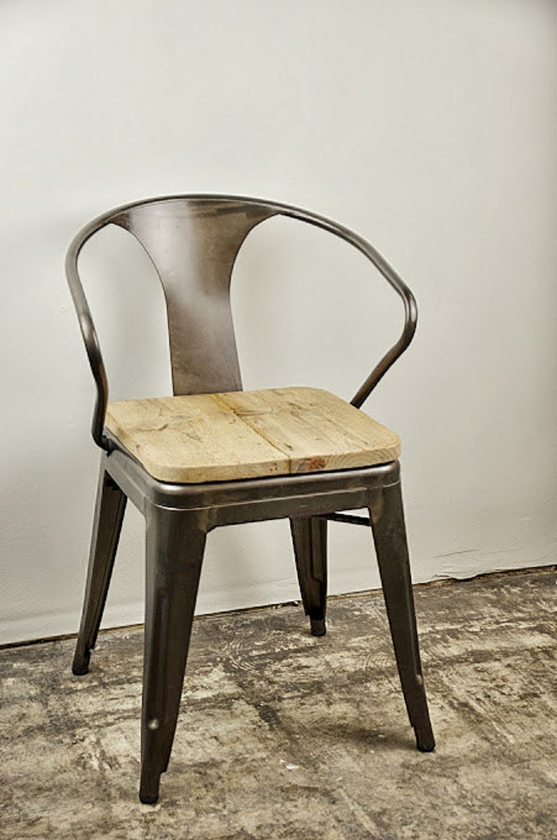Custom Reclaimed Wood Seat Tolix Style Arm Chair image 0