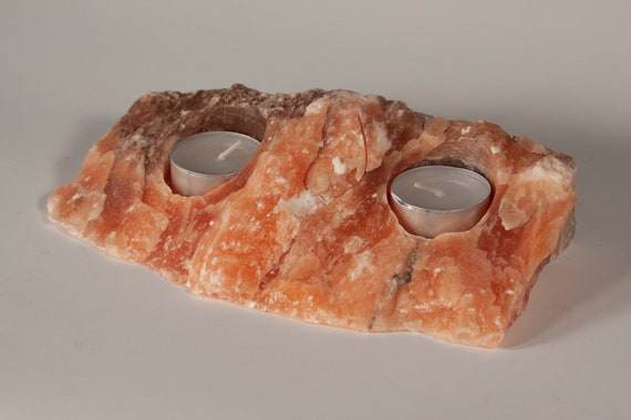 Translucent Orange Alabaster Tea Light Holder