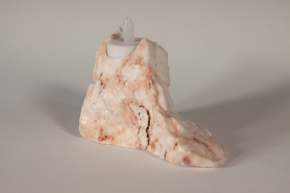 Pink Coral Alabaster Tea Light Holder