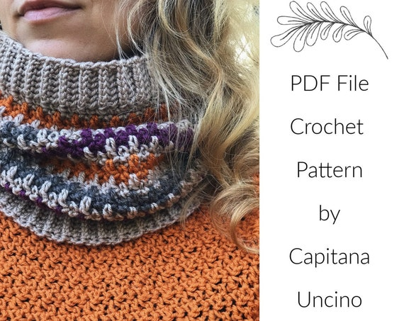 PDF Crochet  PATTERN for Philomena Cowl, 4 Sizes XS, S, M, L