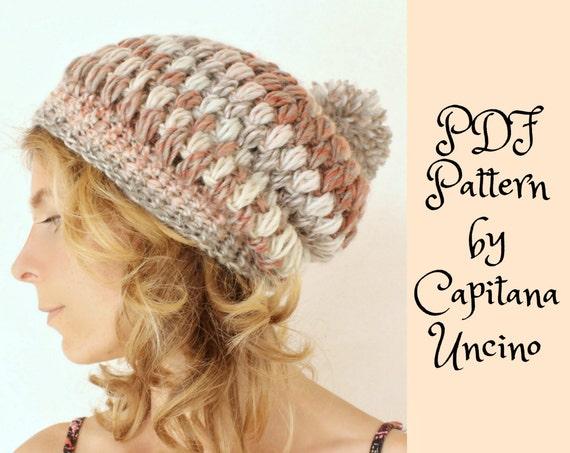 PDF Crochet  PATTERN for Amelia Beanie, 2 Sizes XS-S andM-L, Slouchy, Easy, Puff stitch beanie, with Pompom