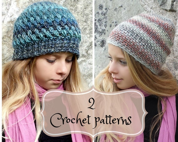 2 PDF-files, Crochet  PATTERNS for Amado Beanie and Amelia beanie, XS-S and M-L, Sloughy Surfer, Puff stitch beanie, pompom