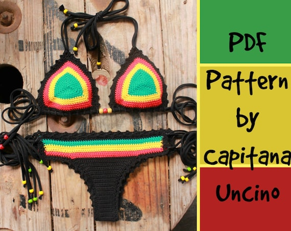 PDF, Crochet PATTERN for Rasta Queen Crochet Bikini Top and Brazilian Bottom, Cheeky, Sizes XS-L