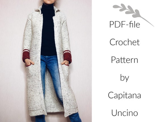 Pdf-file for Crochet PATTERN, Hilla long Jacket, 5 different Sizes: XS-XL, cardigan