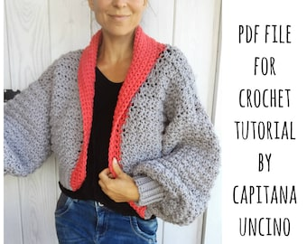 PDF-file for Crochet PATTERN, Elsa Cardigan, 3 different Sizes: S, M and L