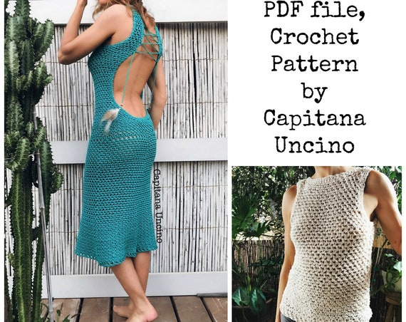 PDF-file for Crochet PATTERN Zahara Crochet, open back, Top and Dress Sizes XS,S,M,L,xL
