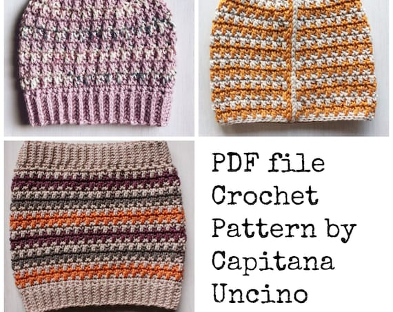 PDF Crochet  PATTERN for Philomena Beanie and Cowl, 4 Sizes XS, S, M, L, beanie with ribbing or without, 3 pattern files