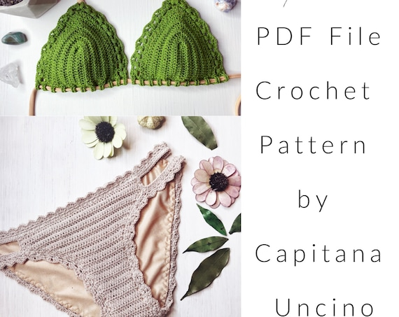 PDF-file for Crochet PATTERN, Marina Crochet Bikini Top and Basic Bottom with more coverage, Cheeky, Sizes XS-L, Surfer Bikini