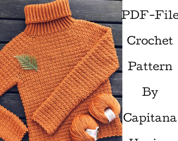 PDF-file for Crochet PATTERN, Elsa Polo-neck Jumper, Sweater, Sizes: XS - xL