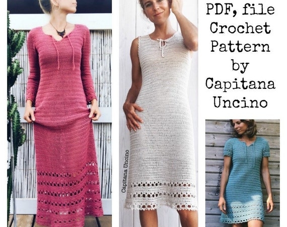 PDF-file for Crochet PATTERN, Magnolia Dress,  XS, S, M L and xL, instructions for 2 lengths
