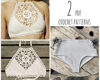 53869aedf481 PDF-files for 2 Crochet PATTERNS  Venus crop Top and Aliyah Crochet Bikini  Bottom Sizes XS-L