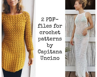 cf7b48a689db9 PDF-files of Crochet PATTERNS for Both Minerva Crochet Tunic and Dress  Top